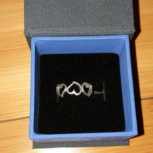 Alternating hearts sterling silver ring size 7.5
